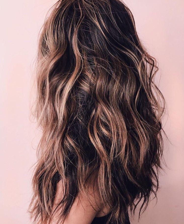 Kristiness Lob Long Lob Caramel Highlights Hairspo Wavy