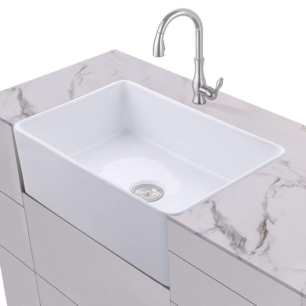 Sleek European Inspired Modern Contemporary Design No Faucet Holes Requires Wall Mount Or Counter Mount Fauce Sink White Undermount Kitchen Sink Fireclay Sink