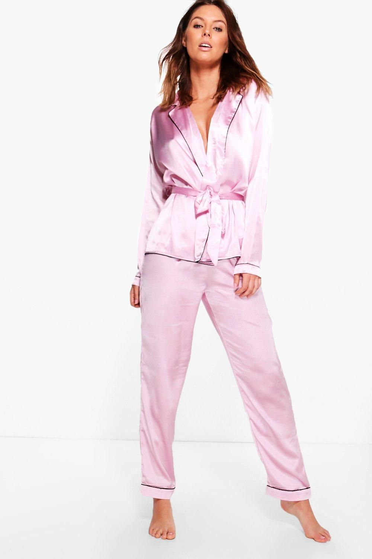 Boutique Eve Satin Robe Front Night Shirt & Trouser PJ Set