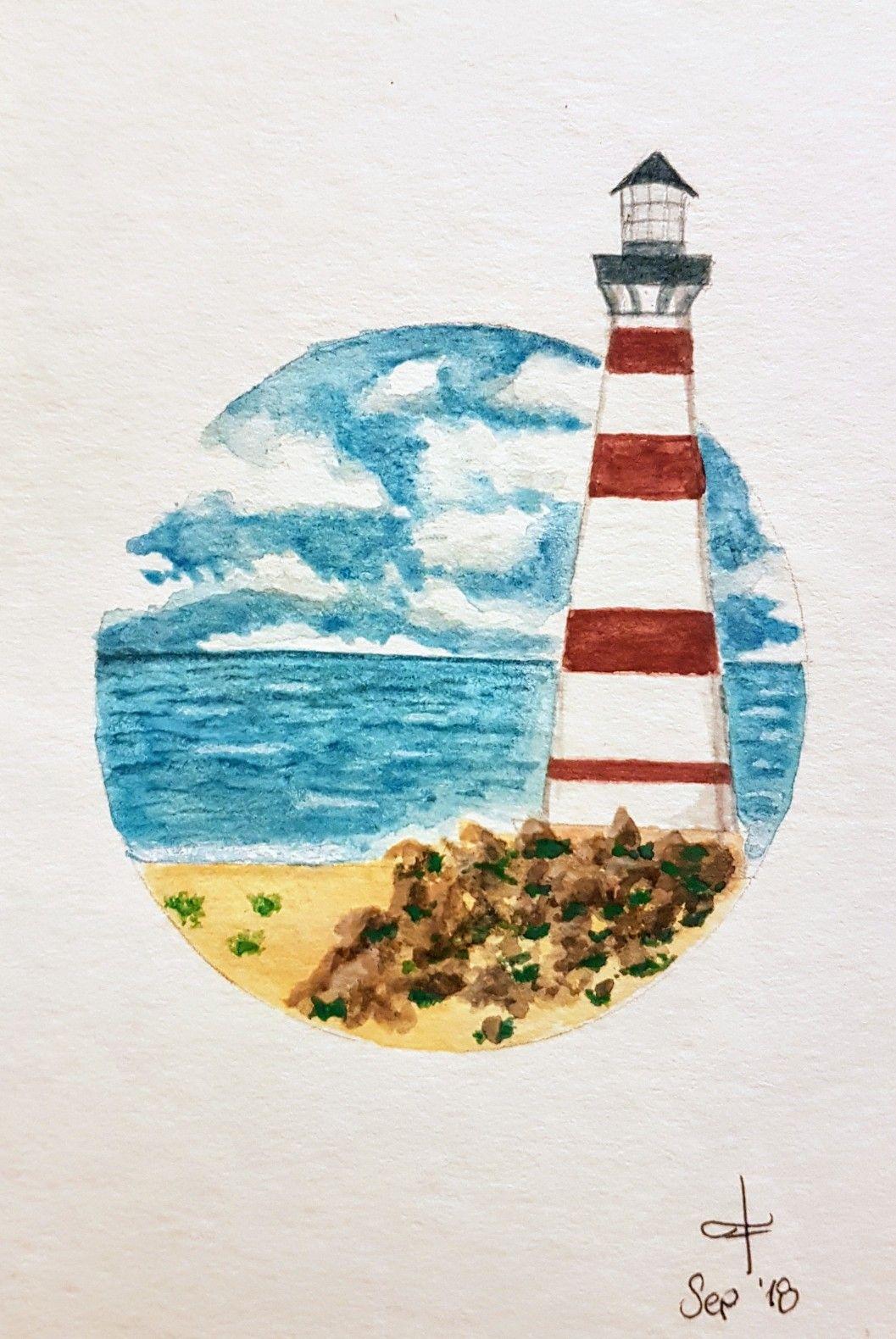 Lighthouse Watercolor Beginner Dibujos Pinturas Acuarela