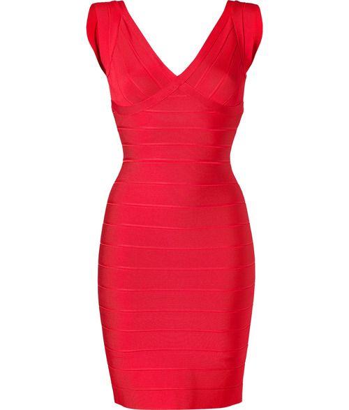 PURE HOT. BY HERVE LEGER  MORE DETAIL HERE:Lipstick V-Neck Bandage Dress