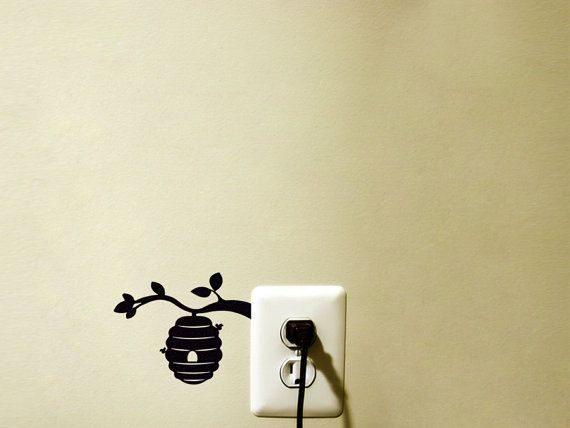Beehive Velvet Wall Decal Ble Bee Decor By Mirshkastudio