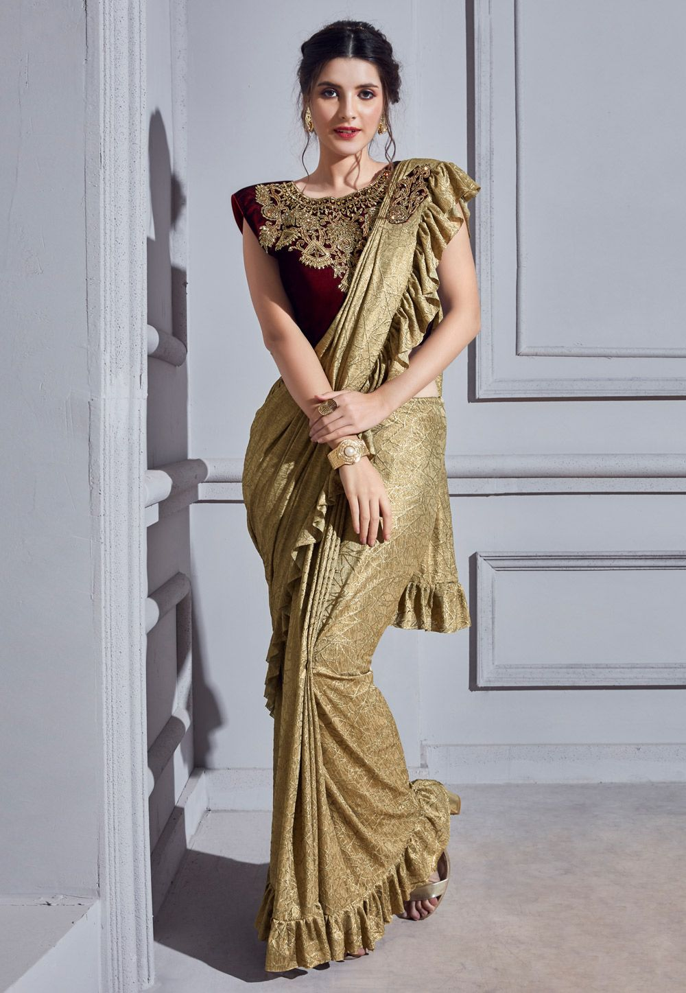 de38ccfe8d Buy Beige Lycra Frilled Party Wear Saree 160874 with blouse online at  lowest price from vast collection of sarees at Indianclothstore.com.