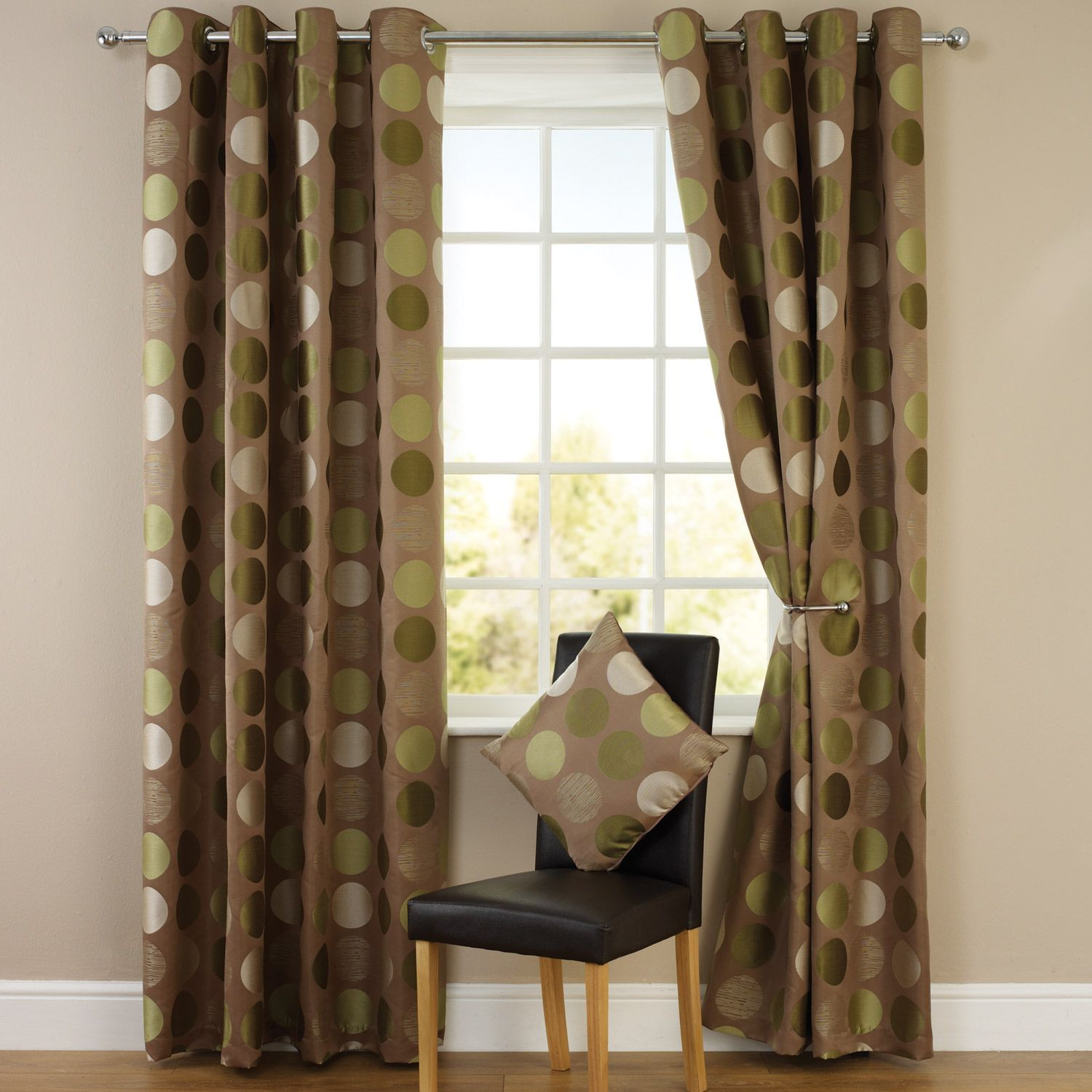 Green geometric curtains - Spots Jacquard Lined Eyelet Curtains Green