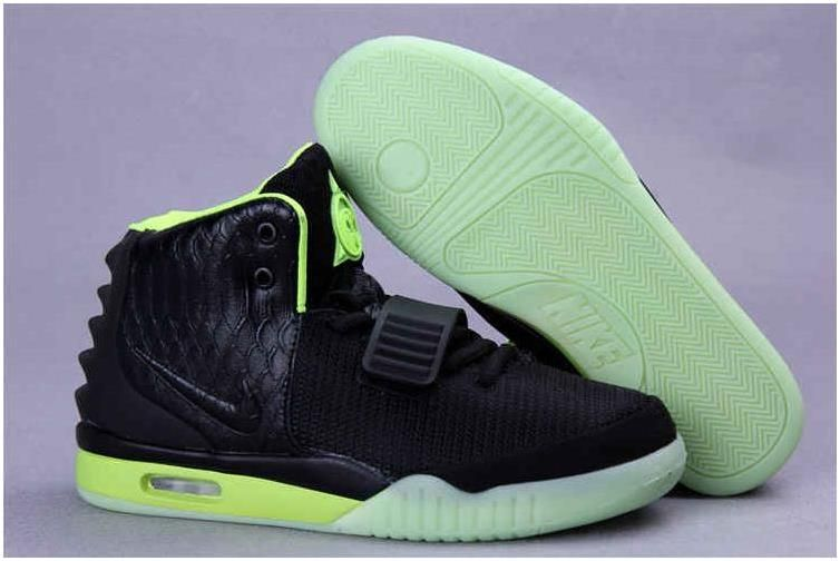 pretty nice 5d435 1007d Fake Air Yeezy 2 Nike Shoes Black Lime Green Pure Platinum Glow in The Dark   Fake shoes  Pinterest  Nike air shoes, Air yeezy and Air yeezy 2