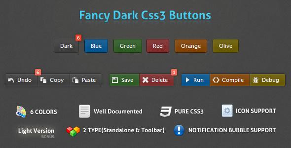 Fancy Dark Css3 Buttons Toolbar icons, Fancy, Dark blue