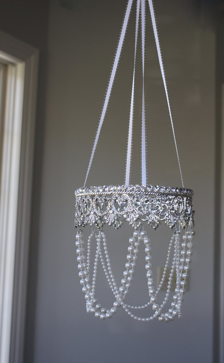 Crown Nursery Mobile Pearl Chandelier Ribbon Bling Diva Crystal Princess Sparkling Dazzling Tiara Jeweled Silver Baby Little Girl Crib Heart By Susiekays On