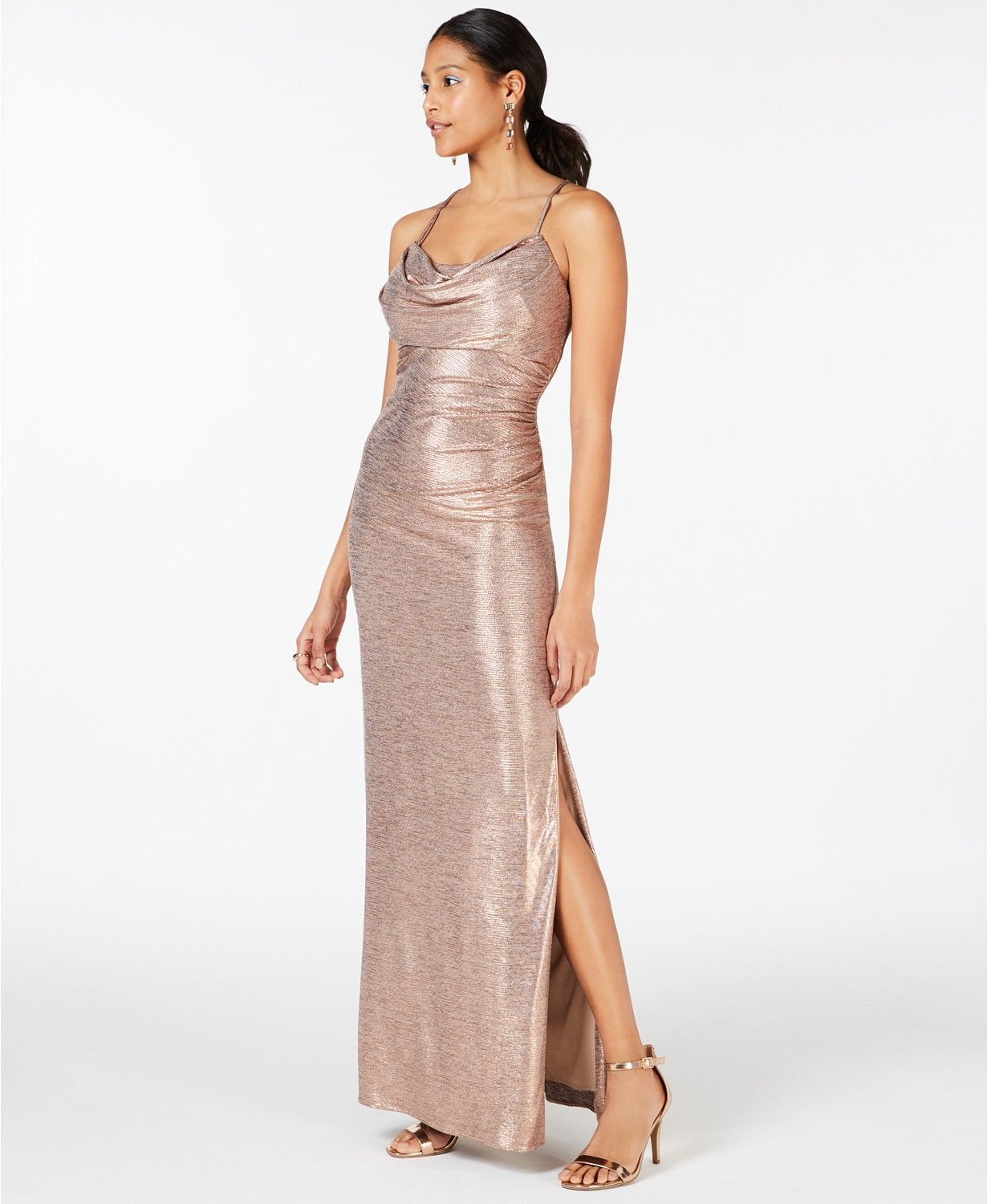Cowl Neck Gold Foil Gown Prom Dress Perfect For Prom 2019 Ad Prom Promdress Prom2019 Cowl Eveningdress Ev Dresses With Leggings Fashion Review Dresses