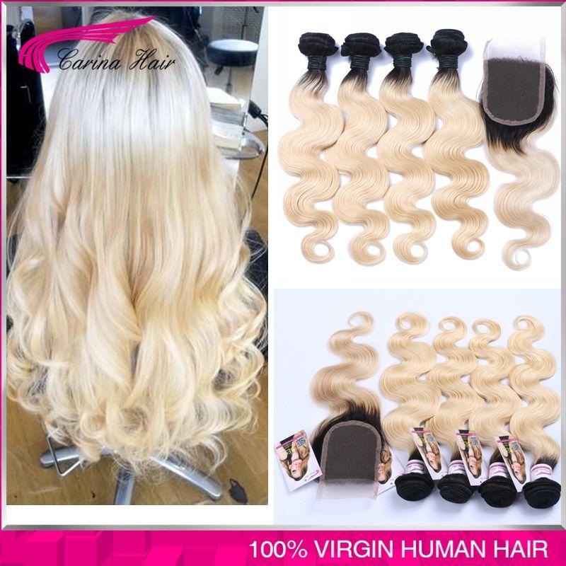 Loira Extensoes De Cabelo Ombre 1b 613 Virgem Cabelo Humano Raizes Escuras 4 Pcs Com Fechamento Ombre Cabelo B Human Hair Blonde Ombre Blonde Hair Extensions