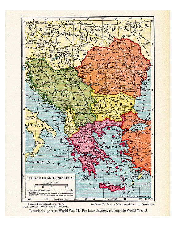 Map of the balkans bright and colorful unique home decor printable old map of the balkans from the 1920s a printable vintage map from artdeco on etsy a good source for vintage images gumiabroncs Image collections