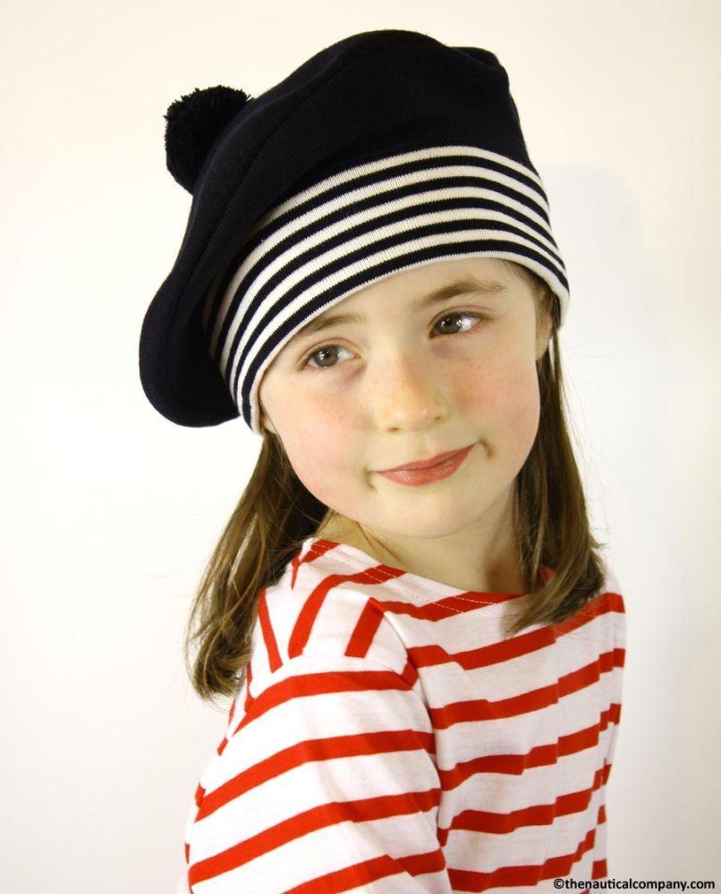 7425454a081 Children s Navy Blue Nautical Beret Hat