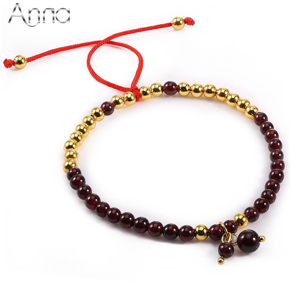 Aun birth stone series natural garnet beaded bracelets solid dark
