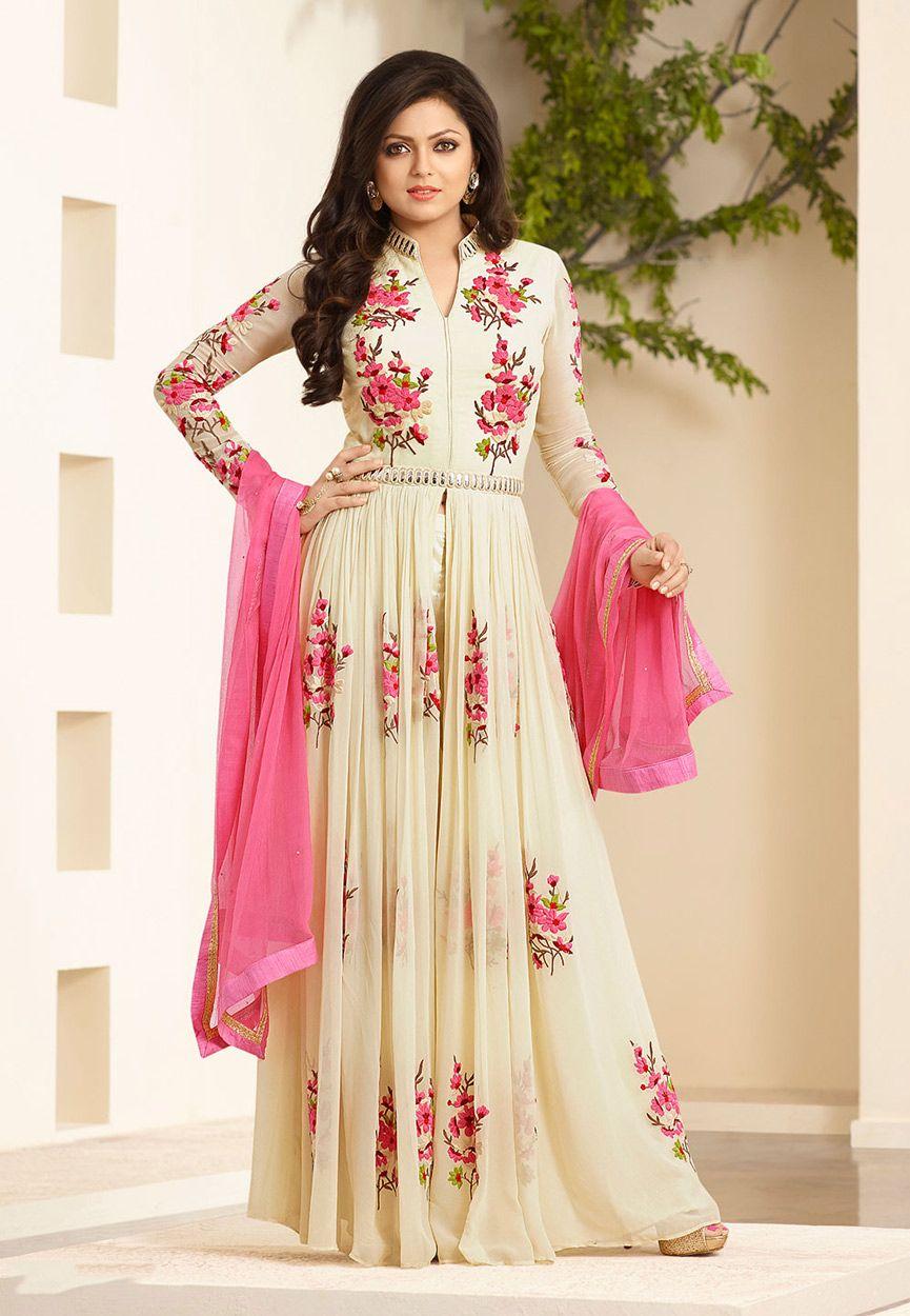 Designer salwar kameez mesmeric peach color net designer suit - Buy Embroidered Net And Georgette Abaya Style Suit In Off White Online Work Embroidered Designer Salwar Kameezdesigner