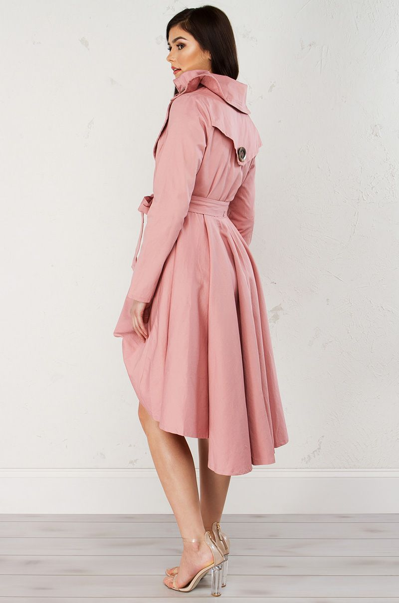 High Low Trench Coat in Blush | wed outfit | Pinterest