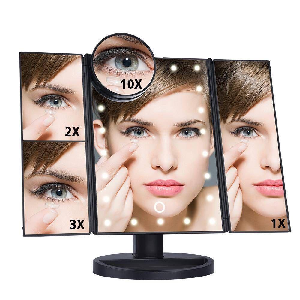 Touchscreen 3 Panel Led Makeup Mirror Makeup Magnifying Mirror