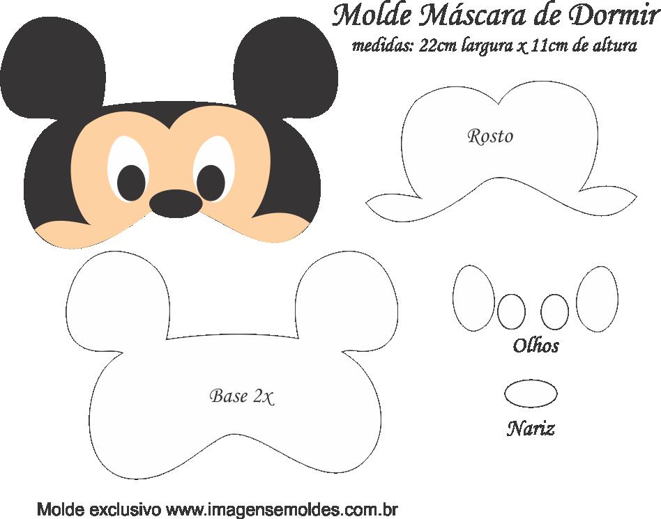 Molde Máscara de Dormir Mickey - Molde para Feltro - EVA e ...