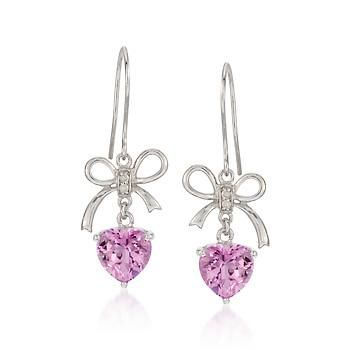Pink Topaz Heart Earrings With Diamonds in Sterling Silver. A glistening sense of romance and a bit of a flirtatious edge. Click the earrings for more details.