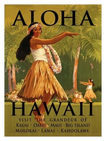 Giclee Print Aloha Hawaii 60x44in Travel Posters Vintage