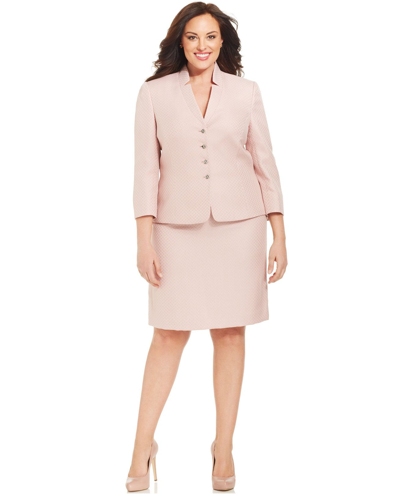 clearance fair price discount sale Tahari ASL Plus Size Herringbone Skirt Suit - Shop All Suits ...