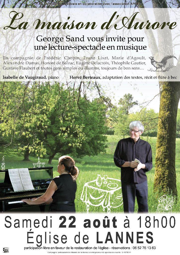 La maison d'Aurore, George Sand vous invite pour une lecture-spectacle en musique. #GeorgeSand #Chopin #SaintArailles #Gers #piano #flute #recorder