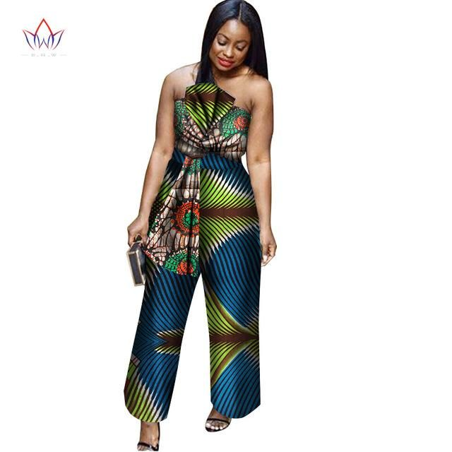 3b2a0793991ad BRW 2018 New arriving Africa Cotton Wax Print Romper African Bazin Riche  Sexy Jumpsuit For Women