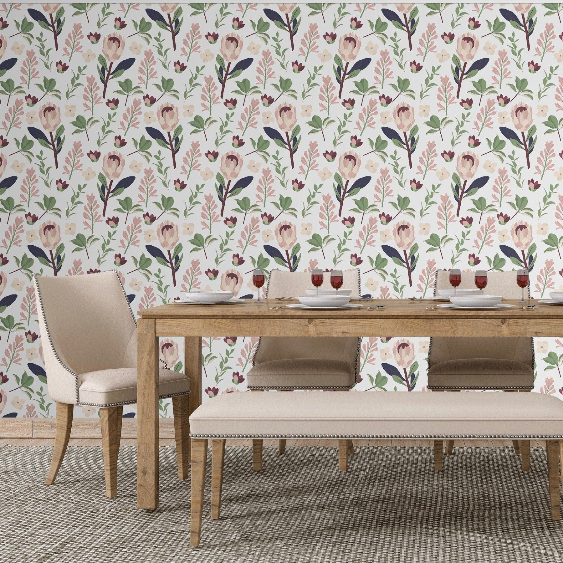 Romantic Floral Peel And Stick Wallpaper Smooth Walls Home Wallpaper