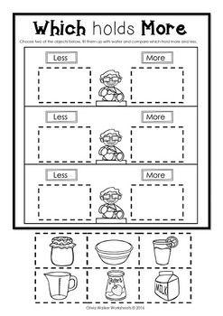capacity non standard measurement for kindergarten grade one kindergarten math. Black Bedroom Furniture Sets. Home Design Ideas