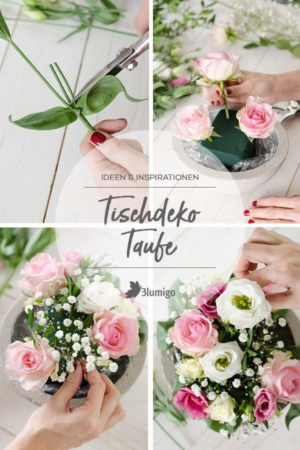 Tischdeko Zur Taufe Selber Machen Gesteck In Rosa Und Weiss
