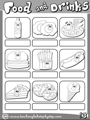 Food And Drinks Picture Dictionary Page 2 B W Version