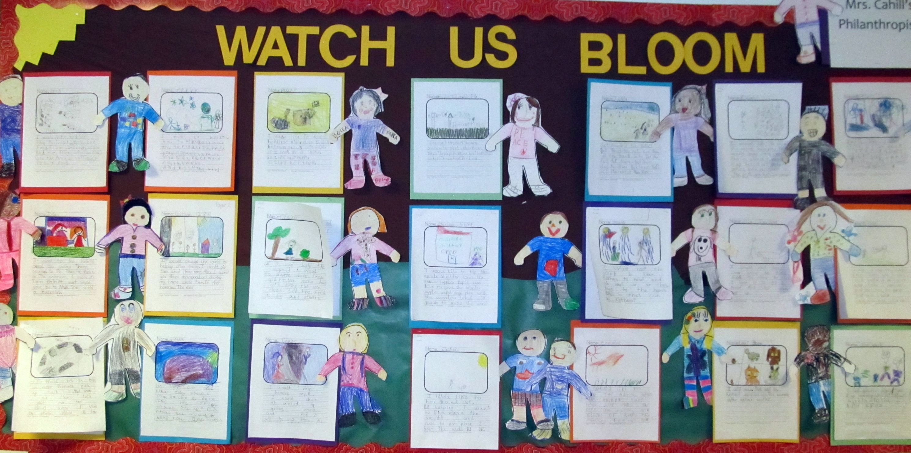 "I have a bulletin board in the hallway that I have covered with brown fabric and posted the generic title ""watch us bloom"" to keep up all year. I also have the students make a little person that I post by their ever changing works all year long."