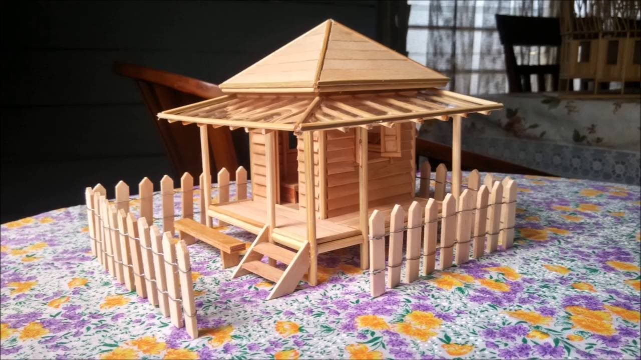 Popsicle Stick Miniature House 3 Rumah Batang Aiskrim