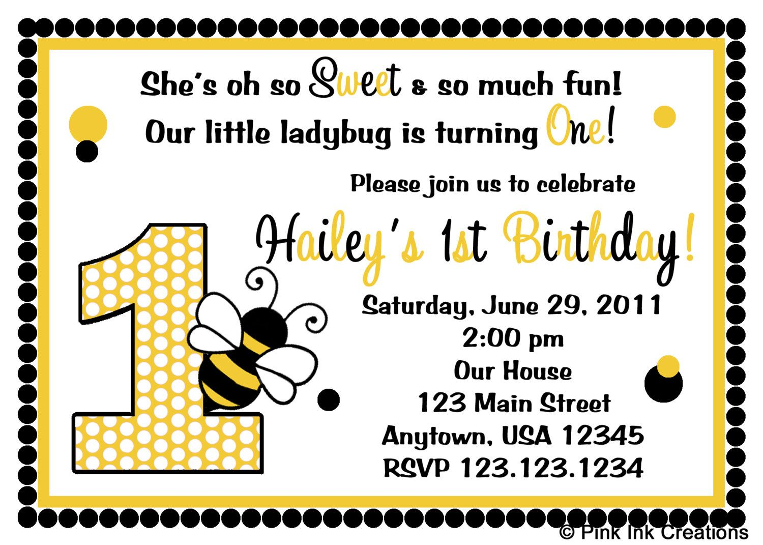 Bumble Bee Birthday Invitations / Bee Birthday Invitation / Bee Baby ...