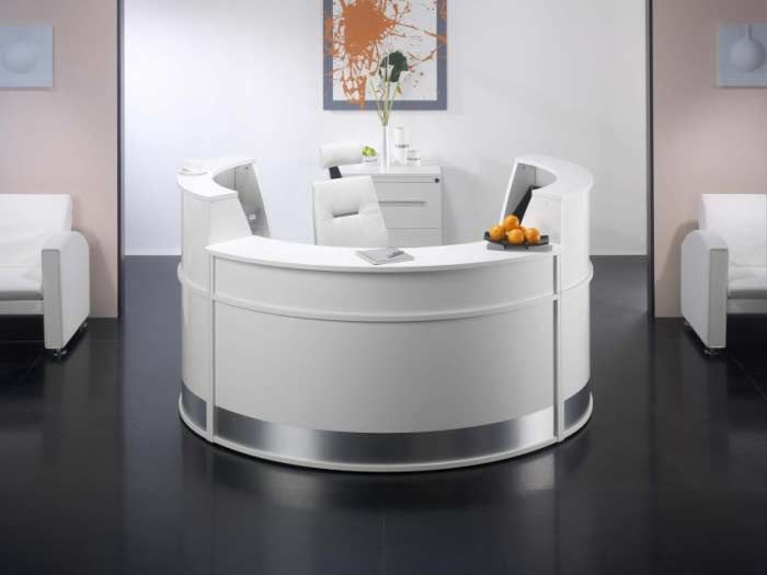 Amazing White Curved Reception Desk With Aluminum Accents