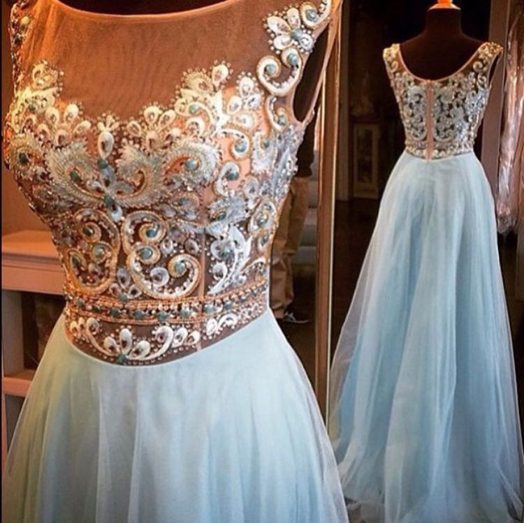 See-through Embroidery Beaded Bodice Light Blue Skirt Formal