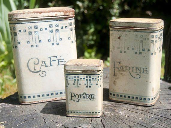 Boites De Rangement En Fer Pour La Cuisine Vintage Cafe Farine