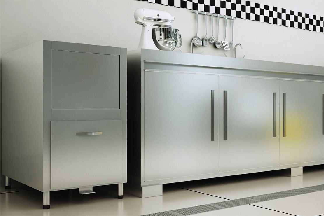 Lixeira Para Fast Food Em Cozinha Industrial De A O Inox Palmetal