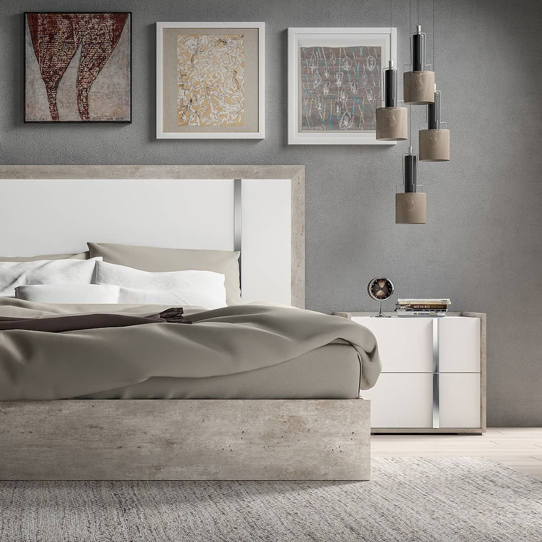 A Modern Love Story White High Gloss Cement Look Wood Never Before Has A Bedroom Looked This Sleek The Treviso 5 P Home Decor House Styles Bedroom Suite