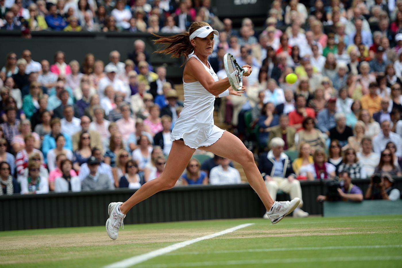 Agnieszka Radwanska hits a forehand during the Ladies' final against Serena Williams. - Matthias Hangst/AELTC