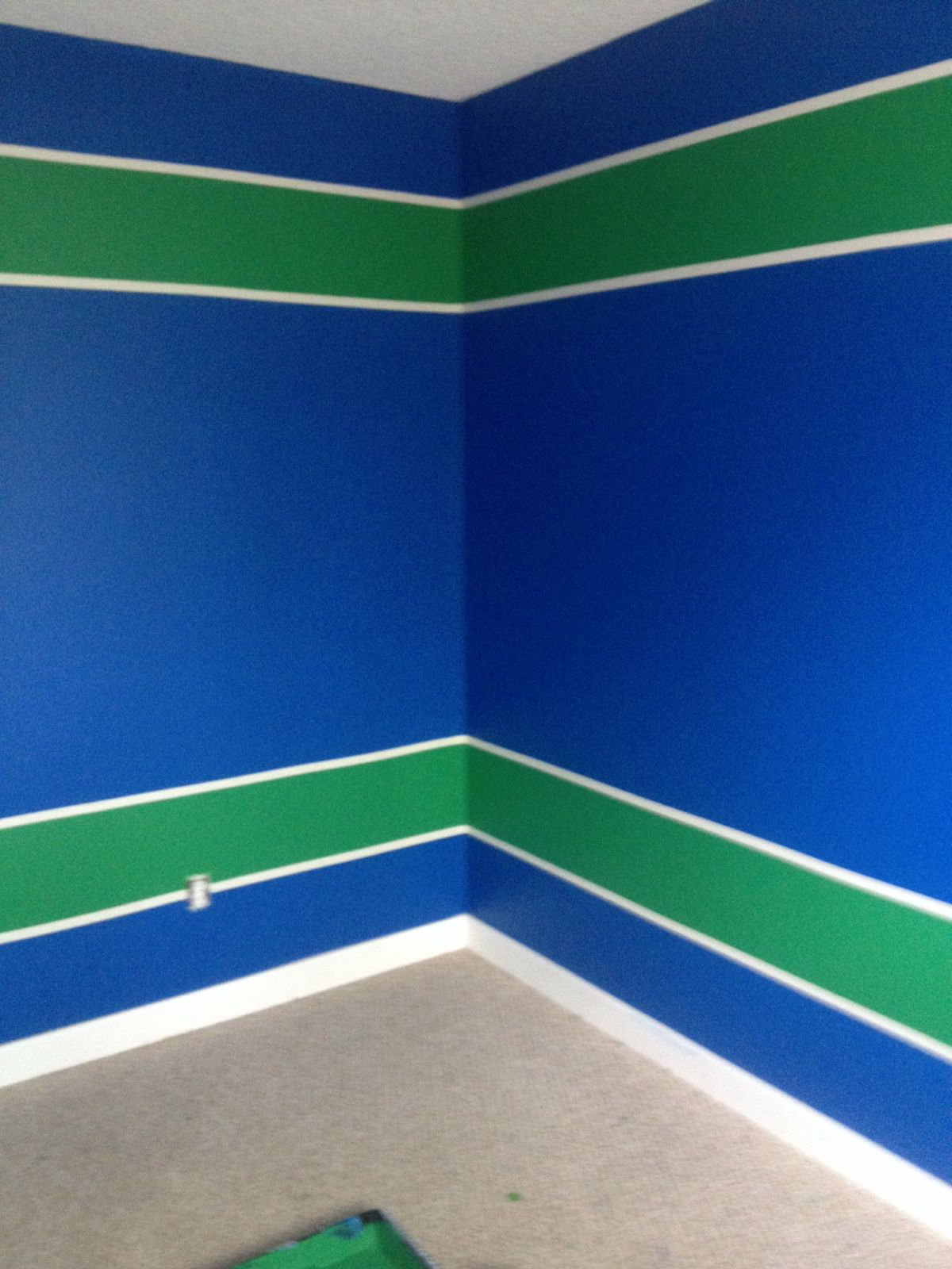 Bedroom colors blue and green - Painted Jesse S Room Vancouver Canucks Colours Blue And Green Bedroom