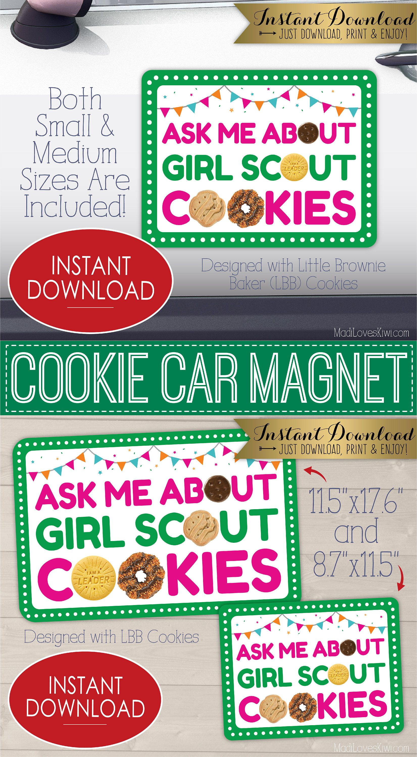 Ask Me About Girl Scout Cookies Car Magnet Van Decal Etsy Girl Scout Cookies Booth Girl Scout Cookie Sales Girl Scout Cookies [ 3000 x 1651 Pixel ]