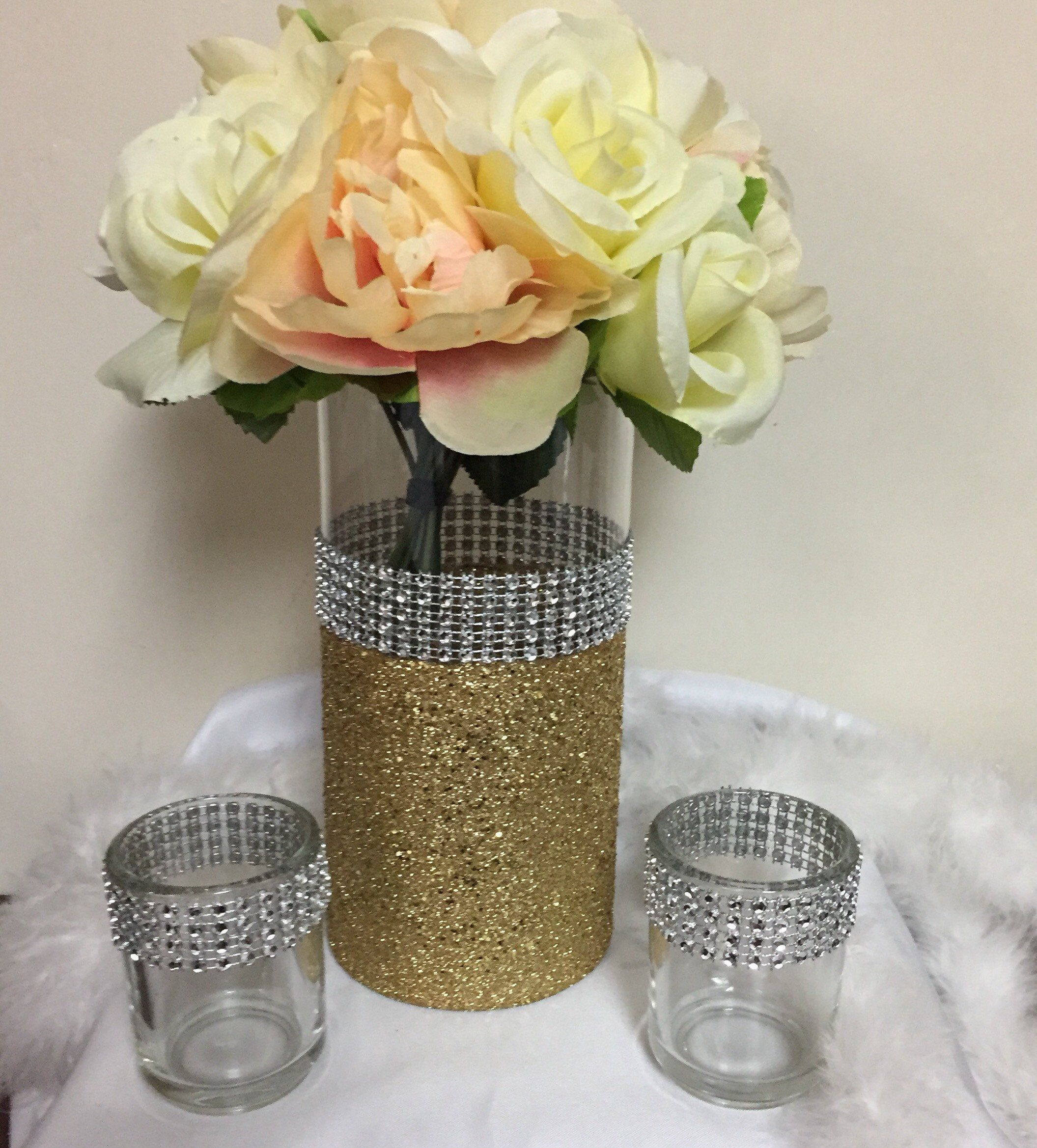 wedding centerpiece rhinestone vase 1 vase bridal bouquet rh pinterest com