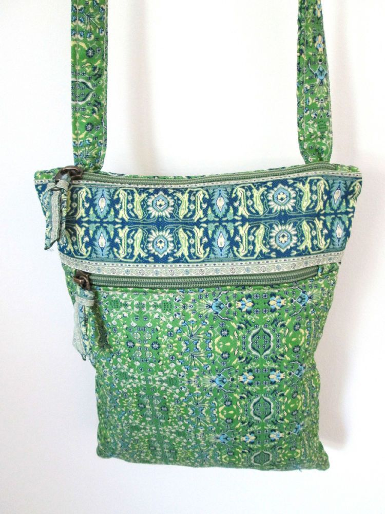 Derin Mini Hipster Purse Crossbody Green and Blue Boho Print Shoulder Style  #MessengerCrossBody