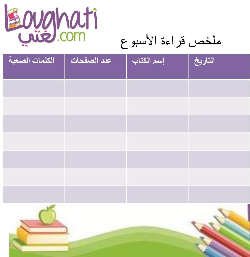 شجعوا أطفالكم على القراءة يمكنكم إعتماد جدول القراءة اليومي المرفق Learning Arabic Learn Arabic Online Arabic Lessons