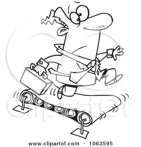 Clipart Businessman Running On A Treadmill Black And White Outline
