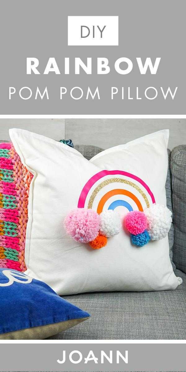DIY Rainbow Pom Pom Pillow with Cricut Iron on Vinyl | Home
