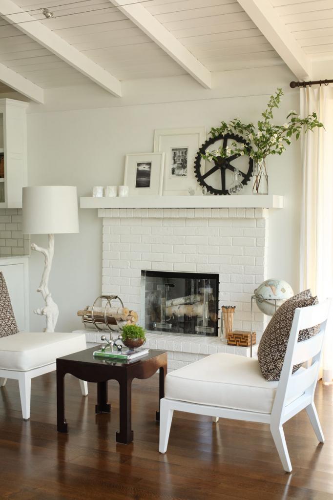 gillar girl  white brick fireplace living room
