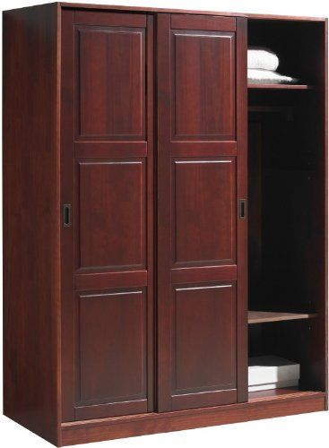 100 Solid Wood Wardrobe Armoire Closet With 3 Sliding Raised Panel Doors Mahogany 52 W X 72 H X 22 Solid Wood Wardrobes Wood Wardrobe Raised Panel Doors