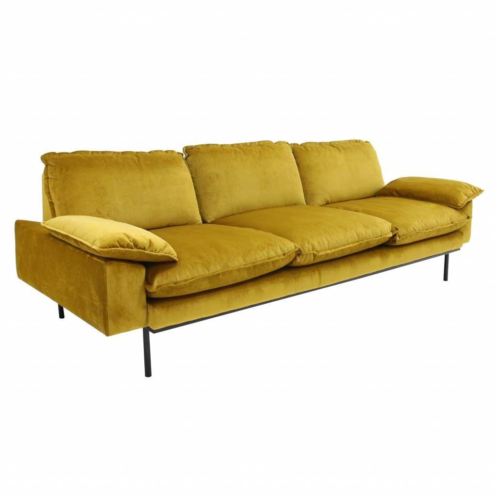 Hkliving Sofa Retro 3 Seater Ochre Retro Sofa Retro Style Sofas Velvet Sofa