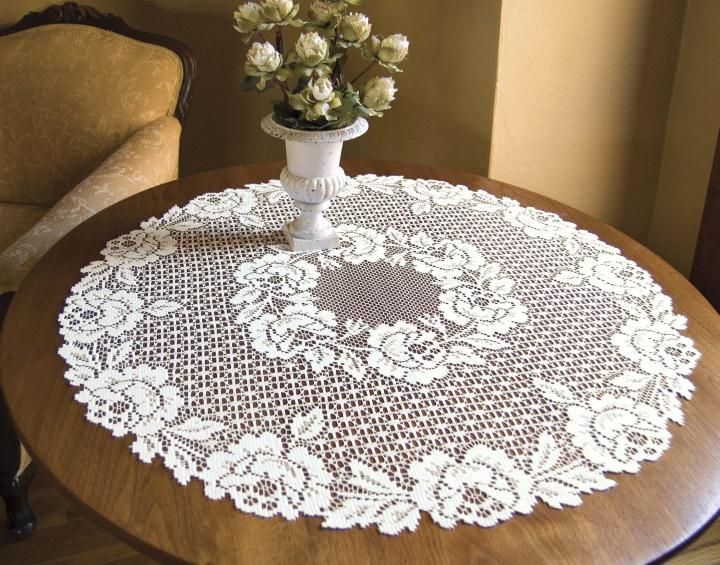 Heritage Lace Cottage Rose 30 Round, Round Lace Table Toppers