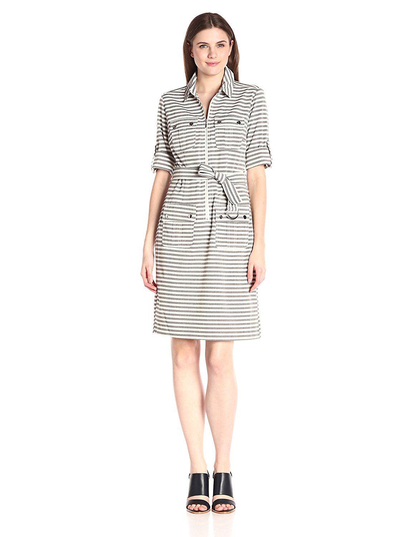 Sharagano Womens Stripe Shirt Dress See This Great Image Black